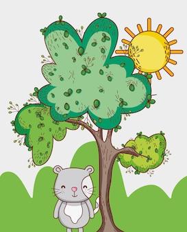 숲에서 고양이 낙서 만화