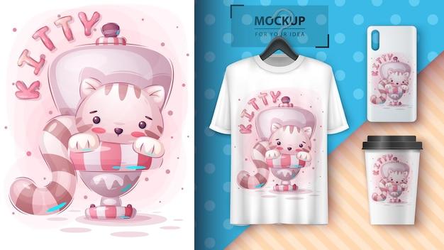 トイレのポスターとマーチャンダイジングの猫ベクトルeps10