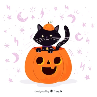 Cat inside a pumpkin halloween flat design