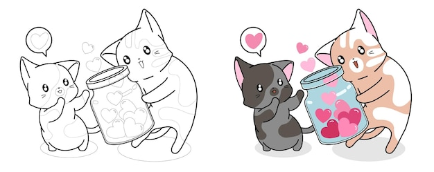 Cat is getting hearts cartoon easily coloring page