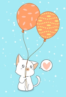 Cat is holding balloons.
