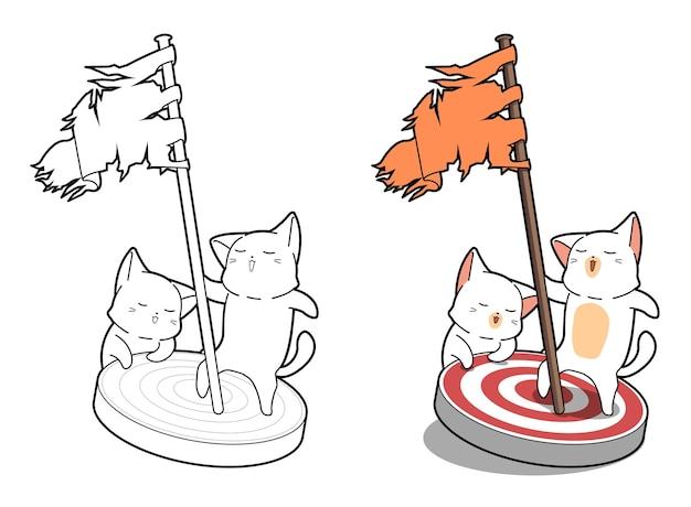 고양이는 아이들을위한 깃발 만화 채색 페이지를 들고있다