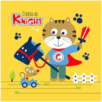 Cat is a knight playing with mouse funny animal cartoon