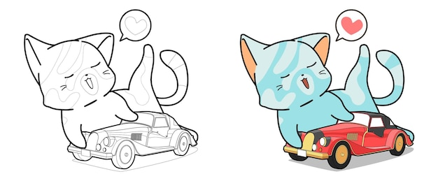 Cat is playing a car toy cartoon coloring page for kids