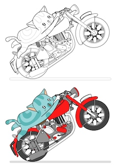 Cat is riding motorcycle cartoon easily coloring page for kids