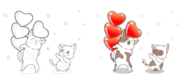 고양이는 친구에게 하트를 보내는 만화 색칠 공부 페이지