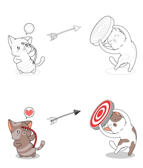 Cat is shooting cartoon easily coloring page