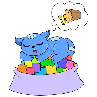 The cat is sleeping in the big dining area and has a sweet dream, vector illustration art. doodle icon image kawaii.