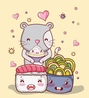 Cat and japan food kawaii