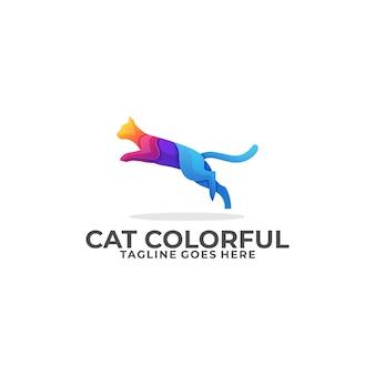 Cat jump colorful design logo