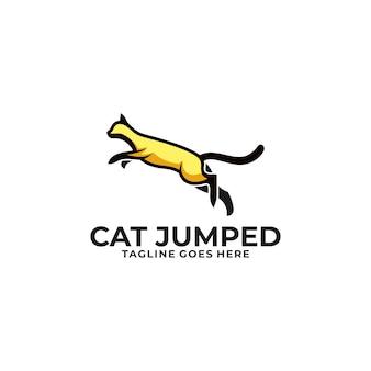 Cat jump design concept illustration template