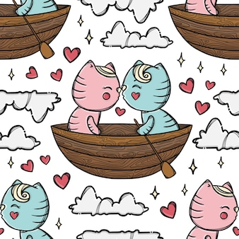 Cat kiss in boat and floating with his sweetheart among the clouds. valentine day cartoon hand drawn seamless pattern