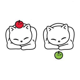 Кот котенок яблоко мультипликационный персонаж