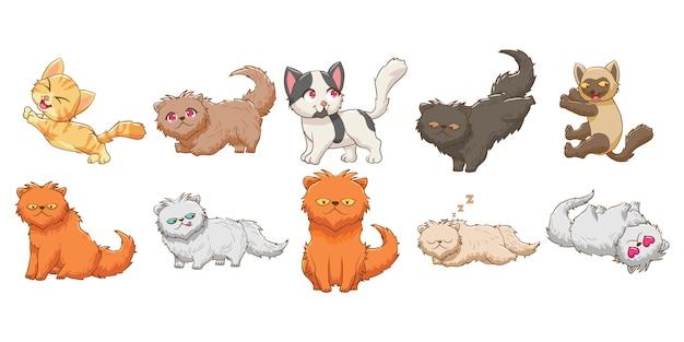 Кот котенок ребенок забавный персонаж векторный набор графический дизайн