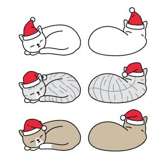 Кошка котенок рождество санта клаус шляпа спит мультипликационный персонаж
