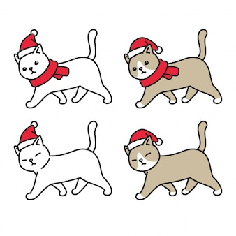 Cat kitten christmas santa claus hat walking cartoon character
