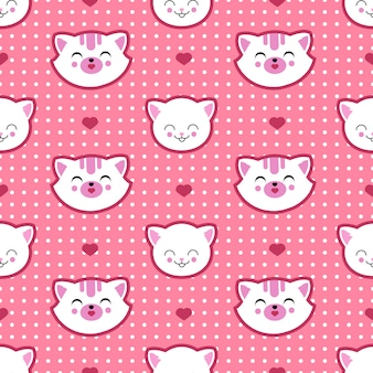Cat and kitten faces vector seamless pattern. child t shirt design
