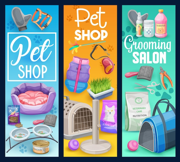 Cat and kitten pet animal care banners of pet shop grooming salon