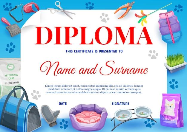 Cat or kitten pet animal care diploma, pets care