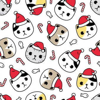 Cat kitten seamless pattern christmas santa claus cartoon character