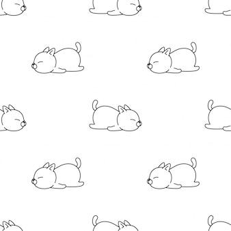 고양이 새끼 고양이 원활한 패턴 잠자는 애완 동물 만화 일러스트 레이션