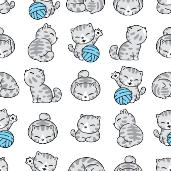 Cat kitten seamless pattern yarn ball cartoon character