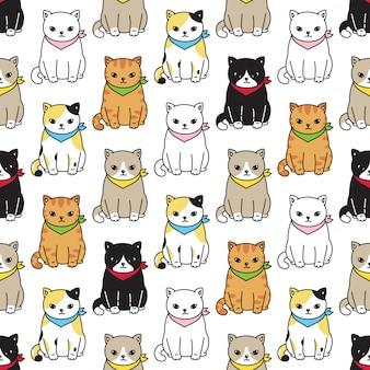 Cat kitten seamless pattern