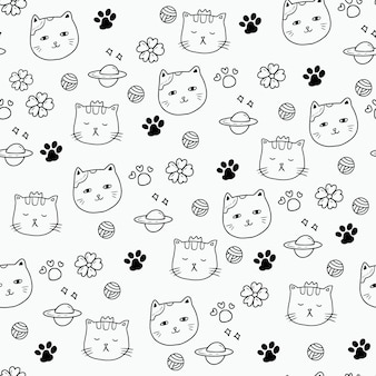 猫キティ足シームレスパターンデザインアート