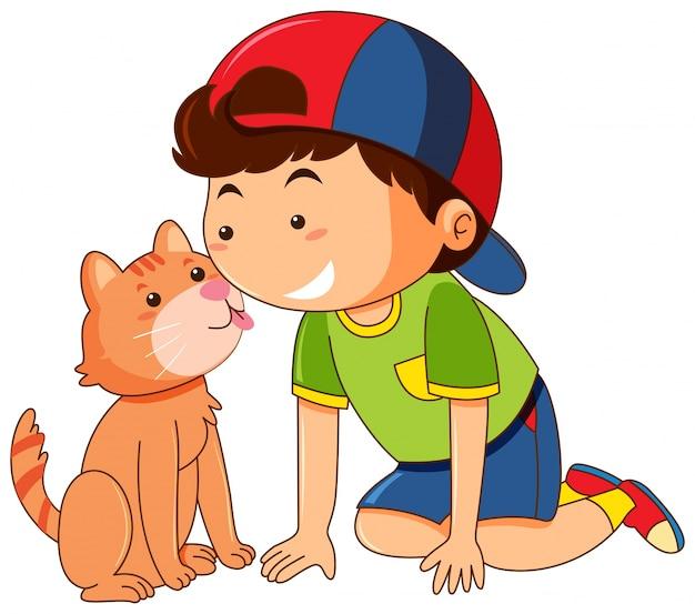 白い背景に男の子の顔を舐める猫