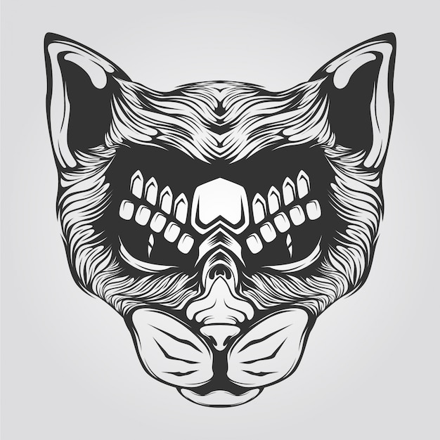 Cat line art black and white