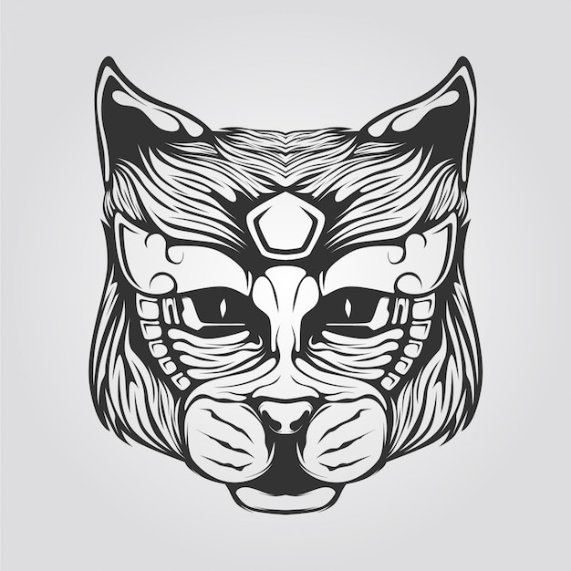 Cat line art in black and white