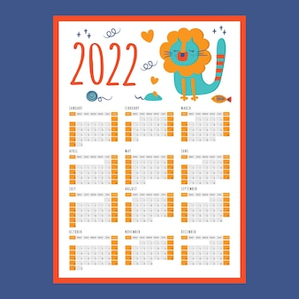 Cat lion calendar 2022 year printable template business organizer schedule page