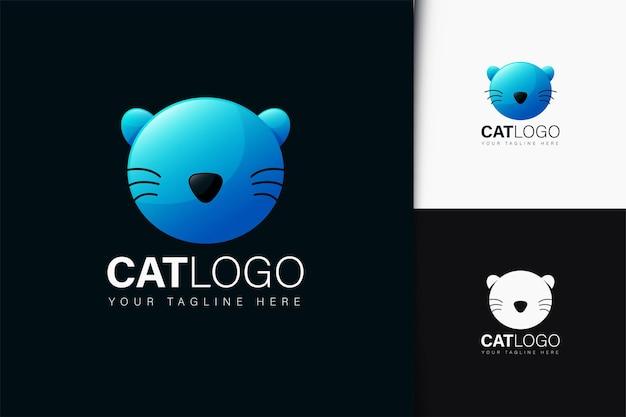 グラデーションの猫のロゴデザイン