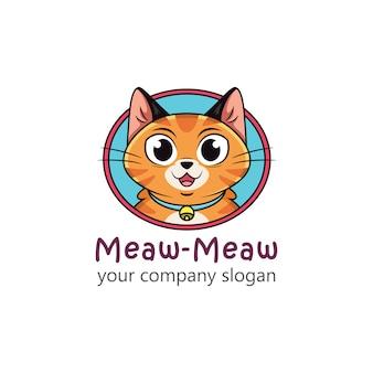 Логотип кошки с забавными выражениями лица