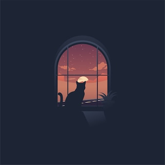 Cat looking at sunset through a window logo