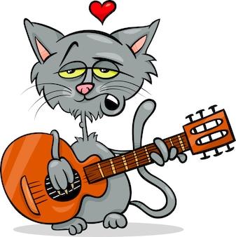 Cat in love cartoon illustration