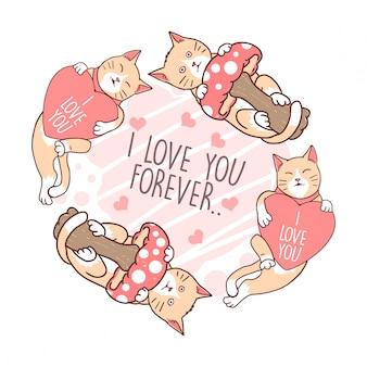 Cat love mushroom vector