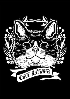 Cat lover illustration in hand drawn