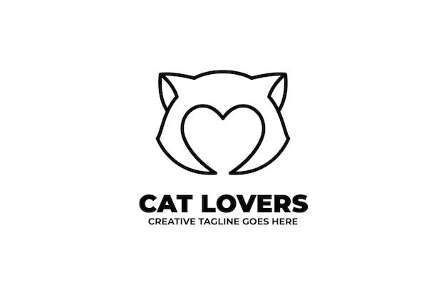 Cat lover silhouette monoline logo