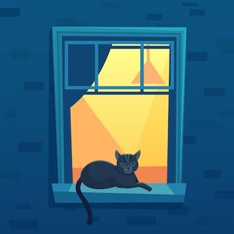 ライトアップされた都市のアパートに横たわっている猫は、夜に窓を開けます。抽象的なインテリアとカーテン、夜のシーンの漫画のベクトル図と窓辺で休んでいる黒い子猫のキャラクター