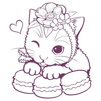 Cat macaron doodle