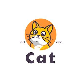 Шаблон логотипа в мультяшном стиле кошки-талисмана