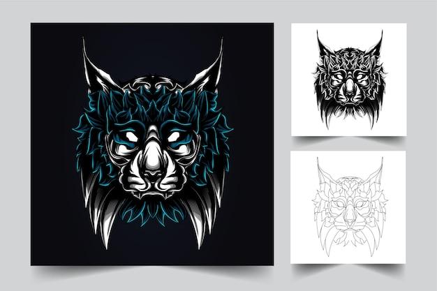 猫のマスコットのロゴ