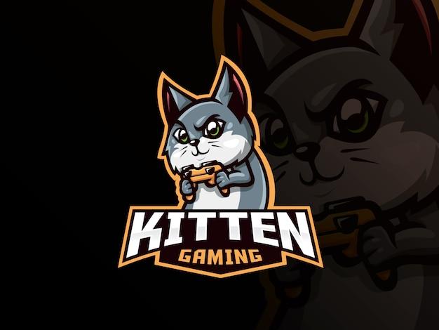 Спортивный дизайн логотипа cat mascot