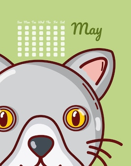 Cat may calendar cartoon vector illustration graphic design
