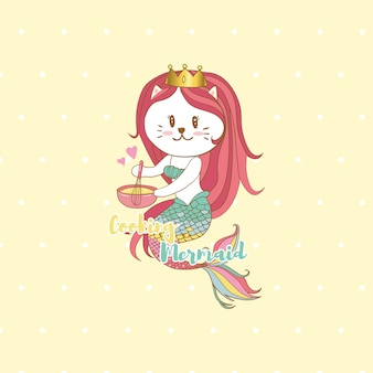 Cat mermaid cooking with pastel colors background,cute cartoon