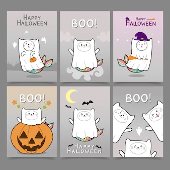 Cat mermaid cute halloween card collection