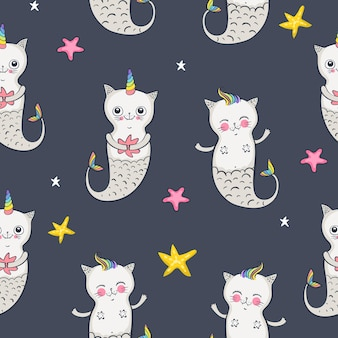 고양이 인어 완벽 한 패턴입니다. 행복한 쌍둥이. 벡터 일러스트 레이 션 eps 10