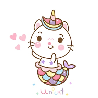 Cat mermaid in unicorn kawaii style