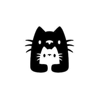Кошка мама и сын детеныш мать родитель отрицательное пространство логотип вектор значок иллюстрации
